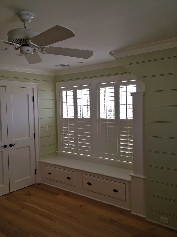 Plantation Shutters With Split Tilt For Privacy Below And