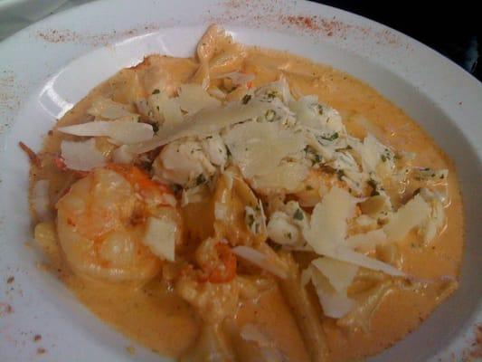 ... Pasta with shrimp, crabmeat, & crawfish simmered in a Cajun cream