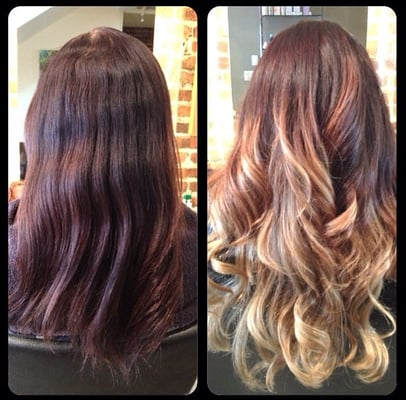 balayage highlights ombre effect before and after
