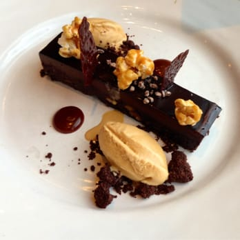 Brownie with popcorn and salted caramel ice-cream