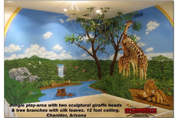 Jungle safari theme playroom mural yelp for Jungle themed playroom