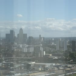 View of the Canary Wharf skyline from The Orbit