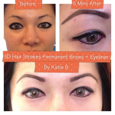 Permanent brows eyeliner top bottom by katie b for Tattoo eyeliner bottom lid