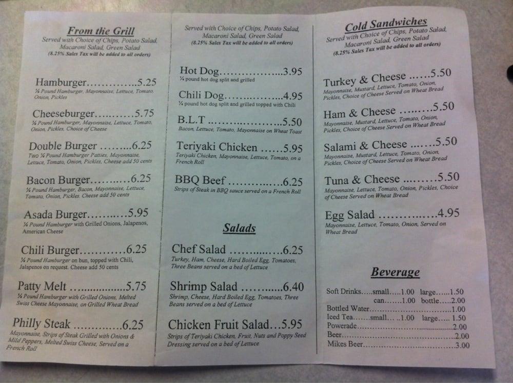 Snack bar menu yelp for Snack bar menu