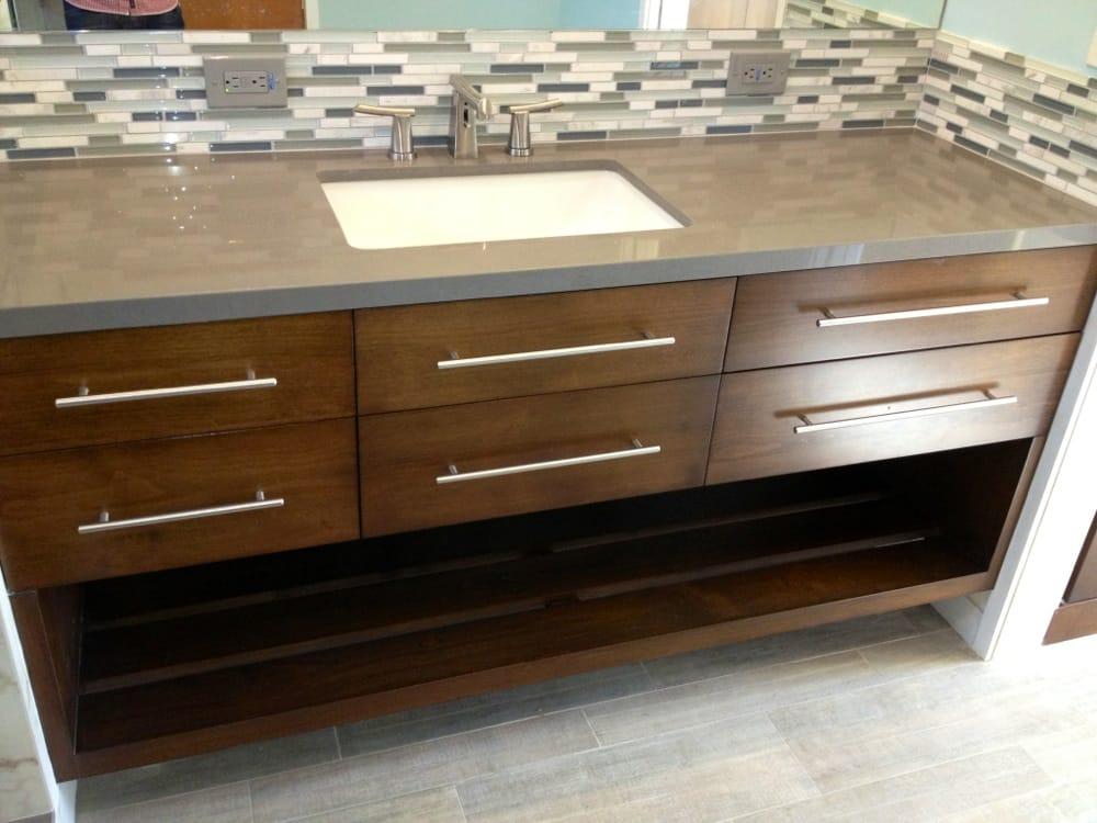 Custom, hand built walnut wood floating vanity 74  with concrete gray