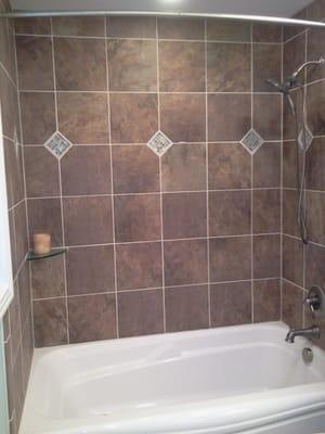 Tub Shower Combo Custom Tile Surround With Keys Yelp