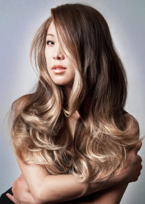 smoked Ash on ombre on Asian hair by Guy Tang