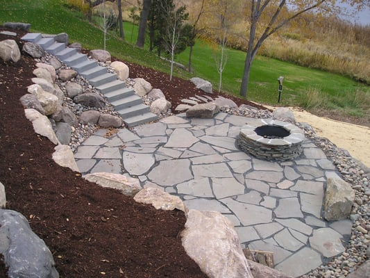 Natural stone patio with fire pit yelp - Natural stone patio images ...