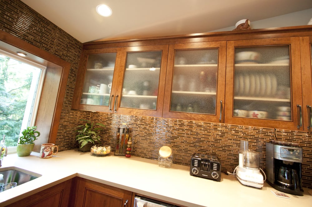 ... Custom Frosted Glass Door Style On Kitchen Upper Cabinets For Glass  Upper Kitchen Cabinets ...