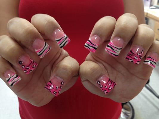 Flared White glitter&pink glitter powder, cheetah/zebra nail art