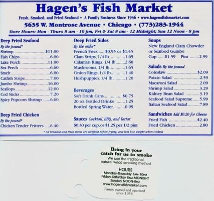 Hagen s fish market portage park chicago il for Hagen s fish market