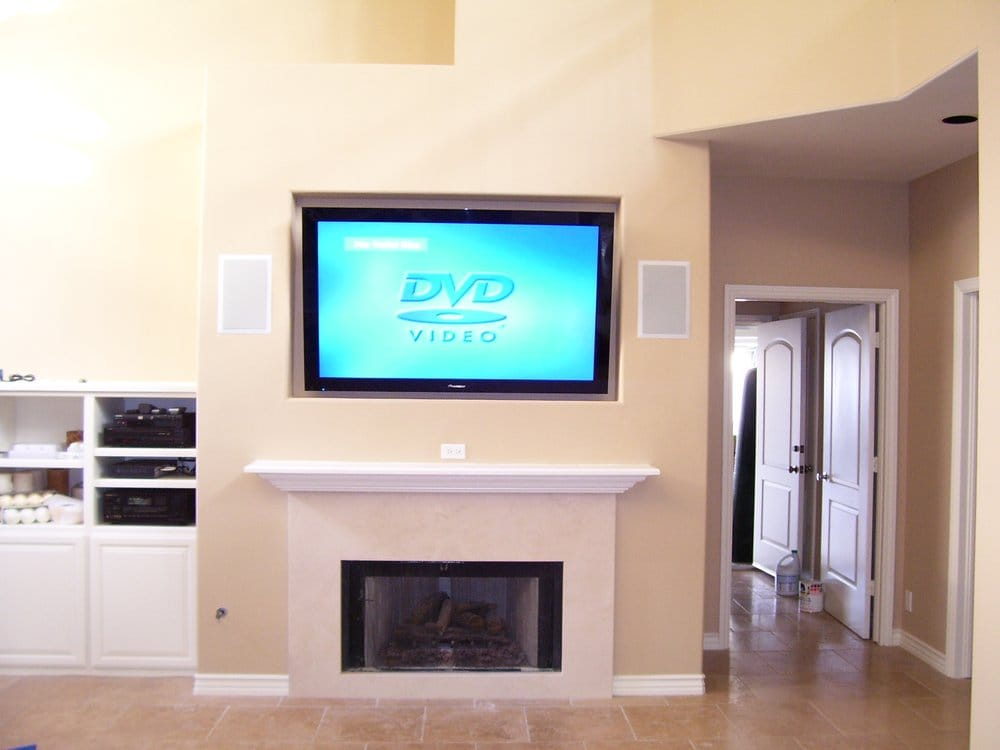 50 Flat Panel Samsung Plasma TV Installation Over Fireplace In Recessed