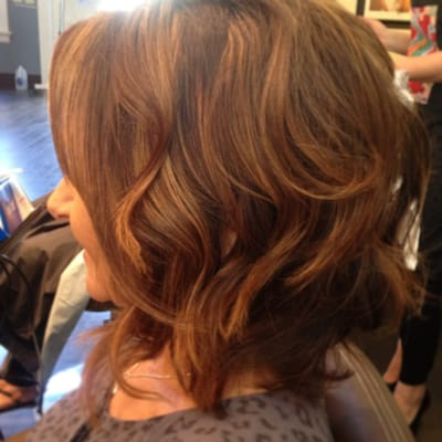 Chocolate brown hair color with light brown highlights and soft waves ...