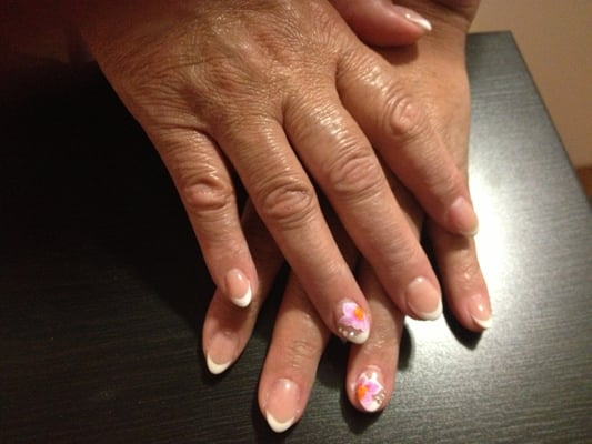 French Classic Almond Nails with Flower | Yelp