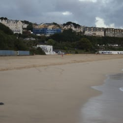 The St Ives Harbour Hotel, The Porthminster, St. Ives in the left corner looking out over Porthminster Beach