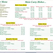 Farhana Indian Restaurant and Take Away - Menu - Basic Curries Dansak to Korma