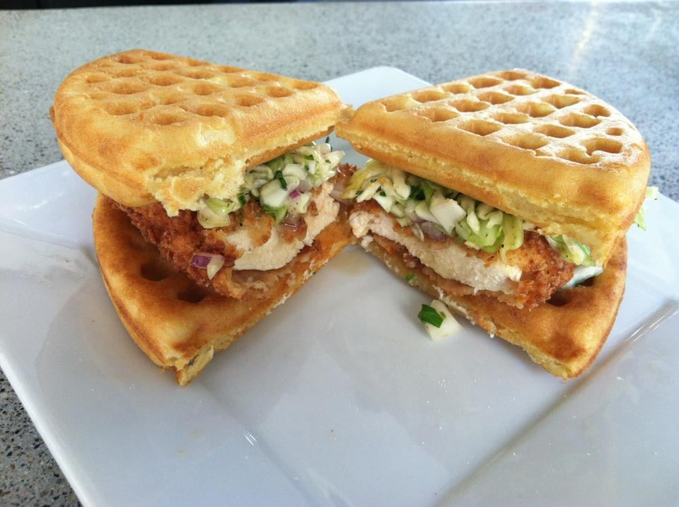 ... buttermilk fried chicken and beer-battered waffle sandwich. | Yelp