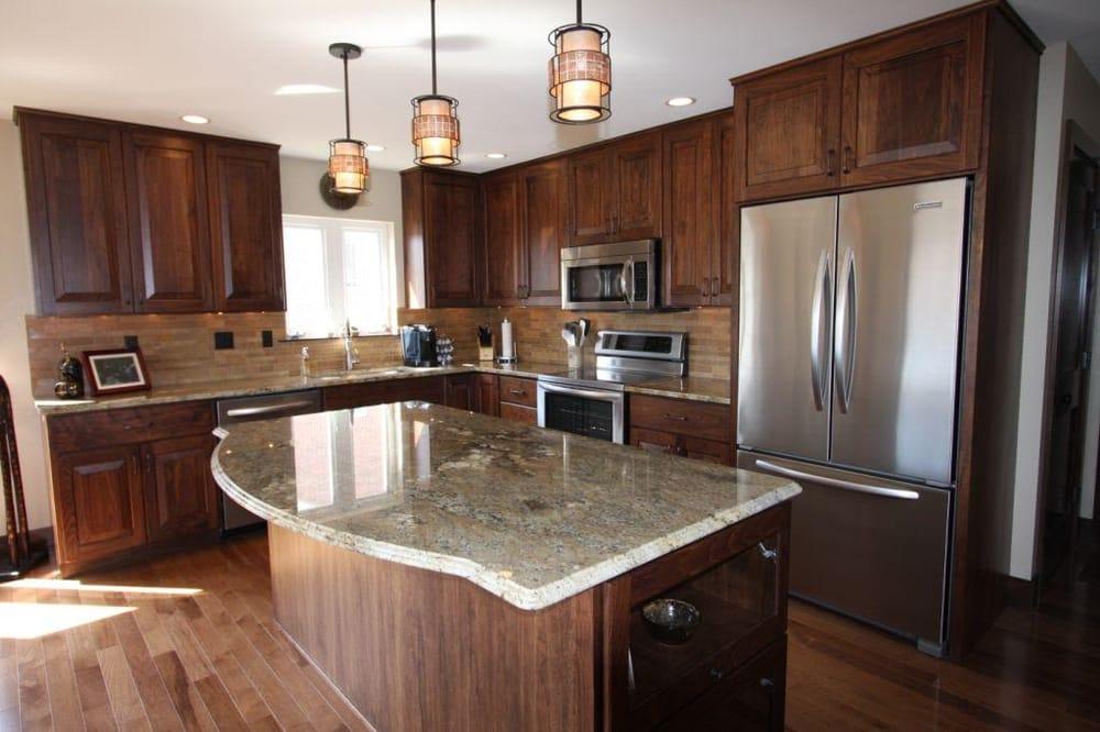 Custom Countertops Near Me : ... granite countertops, Hickory flooring & Travertine backsplash. Yelp
