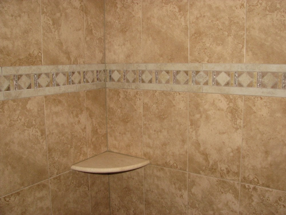 ceramic tile stall shower with mosaic strip and marble shelf washington township nj yelp. Black Bedroom Furniture Sets. Home Design Ideas