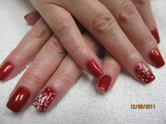 Gel Polished manicure on natural nails with hand crafted nail art