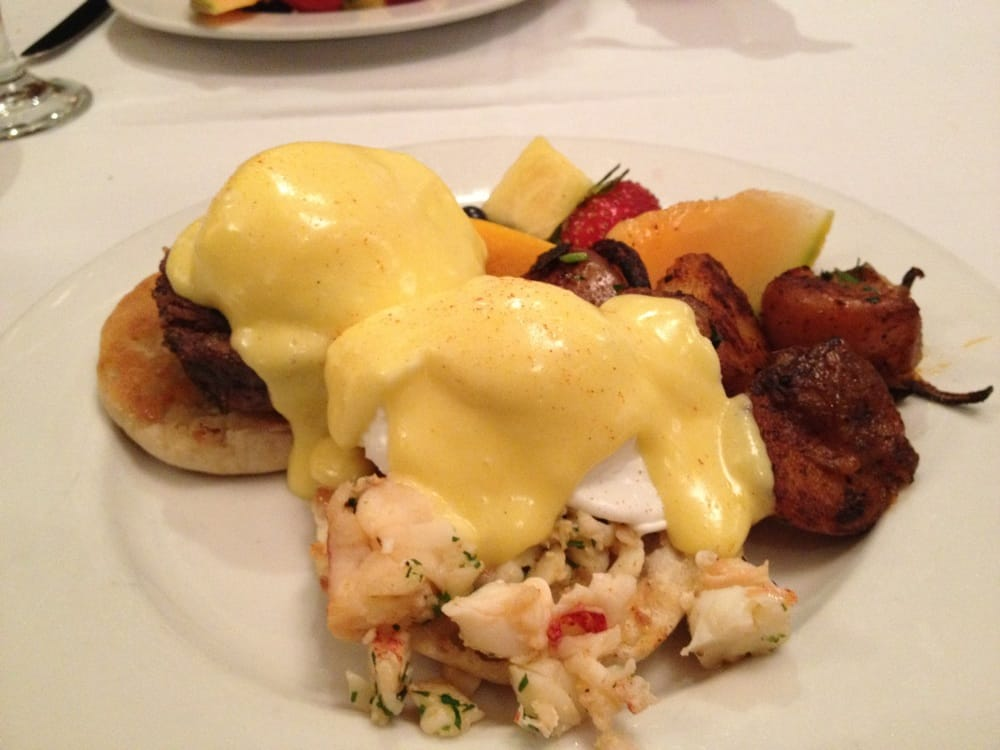 Filet mignon and lobster eggs Benedict -- $20 | Yelp