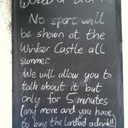 Notice outside, July 2012. Much love to the landlord who is clearly as sick of sport as I am.