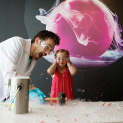 Experimenting with liquid nitrogen at ELEMENTS, which explored the beauty of chemistry