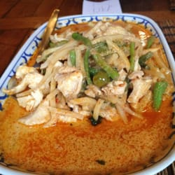 Chicken with red curry and bamboo shoots