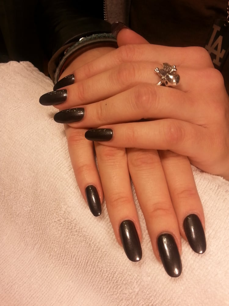 Chic! OPI Black Satin, a shimmery charcoal grey, on ...
