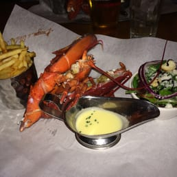 Steamed Lobster w/ salad, fries and garlic butter sauce