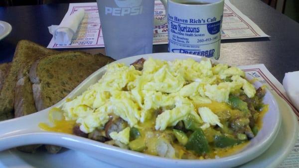 Breakfast Skillet : Chorizo sausage, jalapenos, onions, American fries ...