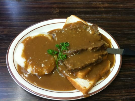 Meatloaf open-faced sandwich with mashed potatoes & gravy - Yum