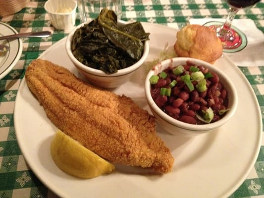 Fried catfish, red rice n beans, collard greens, cole slaw and corn ...
