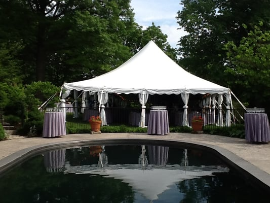 rustic wedding tent near cincinnati, with leg drapes, and cocktail
