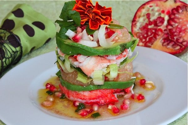 Crab salad with pomegranate, grapefruit,avocado and lime vinaigrette ...
