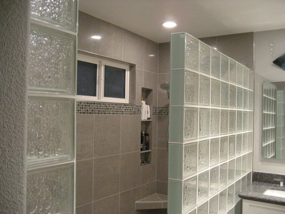8x8 glass block shower wall and 16x16 polished porcelain for 16x16 kitchen designs