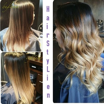 Before and after picture looks great straight and curled for Salon vizions