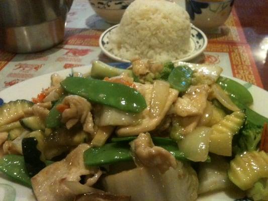 Moo Goo Gai Pan with steamed rice | Yelp
