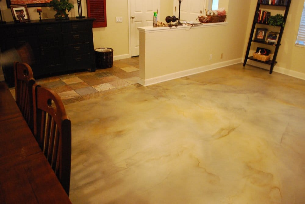 Water based stain on interior residential concrete floor for Residential concrete floors