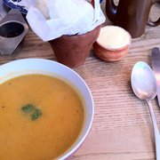 Sweet potato and pumpkin soup with homemade olive and red pepper bread. Simply delicious.