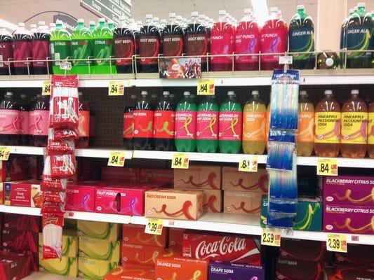 Brightly colored, Kroger brand soda.