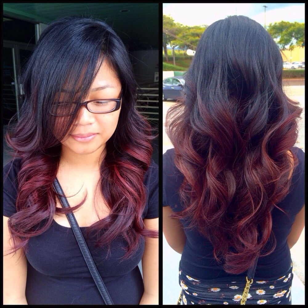 Red violet ombré and curls. | Yelp
