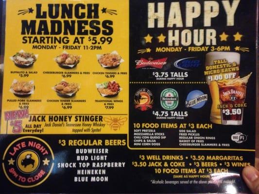 Happy hour menu yelp