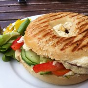 Bagel with humans, peppers and cucumbers ! Yummy