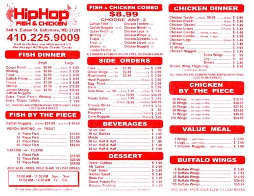 hip hop fish chicken menu yelp
