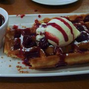 Belgian waffle for dessert -- got to excited, excuse the missing parts!