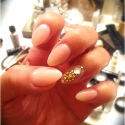 New set of natural nails using light pink powder with for 3d nail salon upland ca