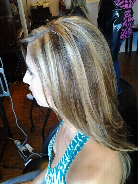 Chunky Blonde Highlights and long layers by Danielle E | Yelp