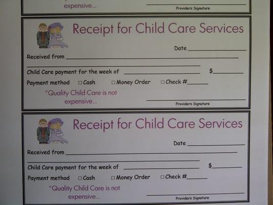 child care receipt