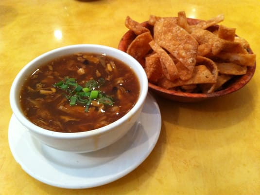 Hot and sour soup with fried wonton chips. | Yelp